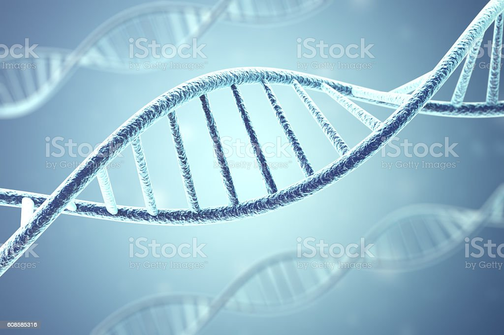 Concept of biochemistry with dna molecule. 3d rendering stock photo