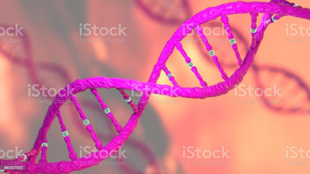 Concept of biochemistry with DNA molecule stock photo