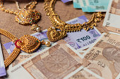 istock Concept of black money, IT raid, confiscated or unaccounted Money showing Indian currency notes with jewelry 1158347442