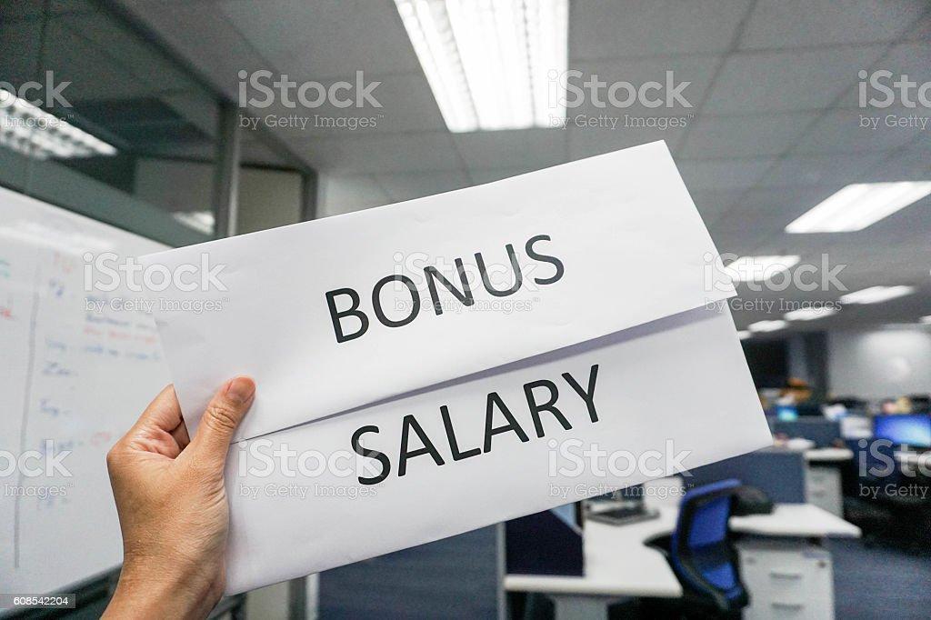 concept of bonus and salary payroll stock photo