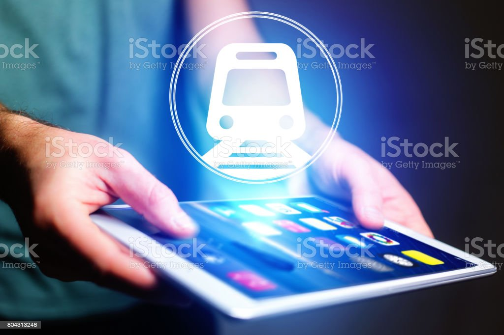 Concept of booking online train ticket - Travel concept stock photo