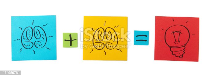 Concept of brainstorming. Colored paper sheets. Clipping path included.