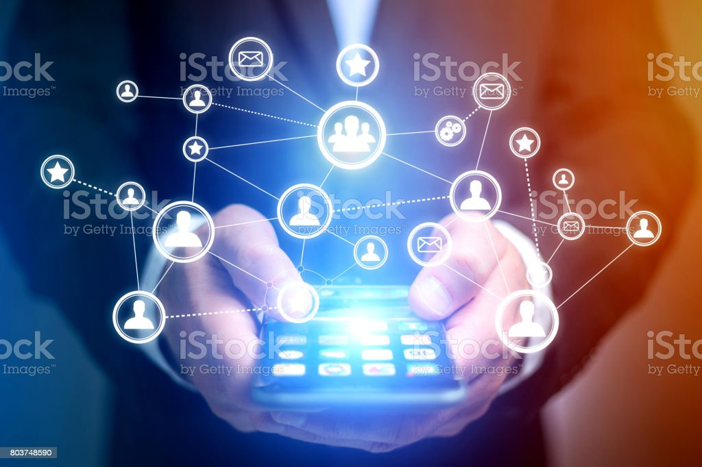 Concept of business international network interface - Technology concept stock photo