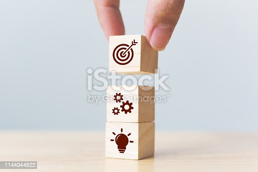 istock Concept of business strategy and action plan. Businessman hand putting wood cube block on top with icon 1144044522