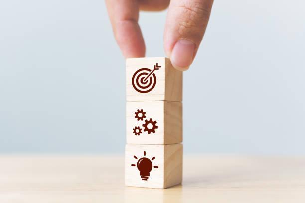 Concepto de estrategia de negocio y plan de acción. Empresario a mano poniendo bloque de cubo de madera en la parte superior con icono - foto de stock