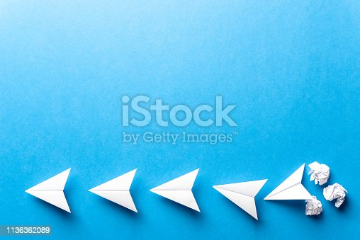 istock Concept of business strategy, goals, successful, achievement and challenge with building paper airplanes in progress. Development attainment, motivation, growth concept. 1136362089