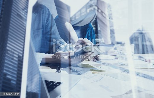 629421870 istock photo Concept of business team using mobile devices.Closeup view female 629422922