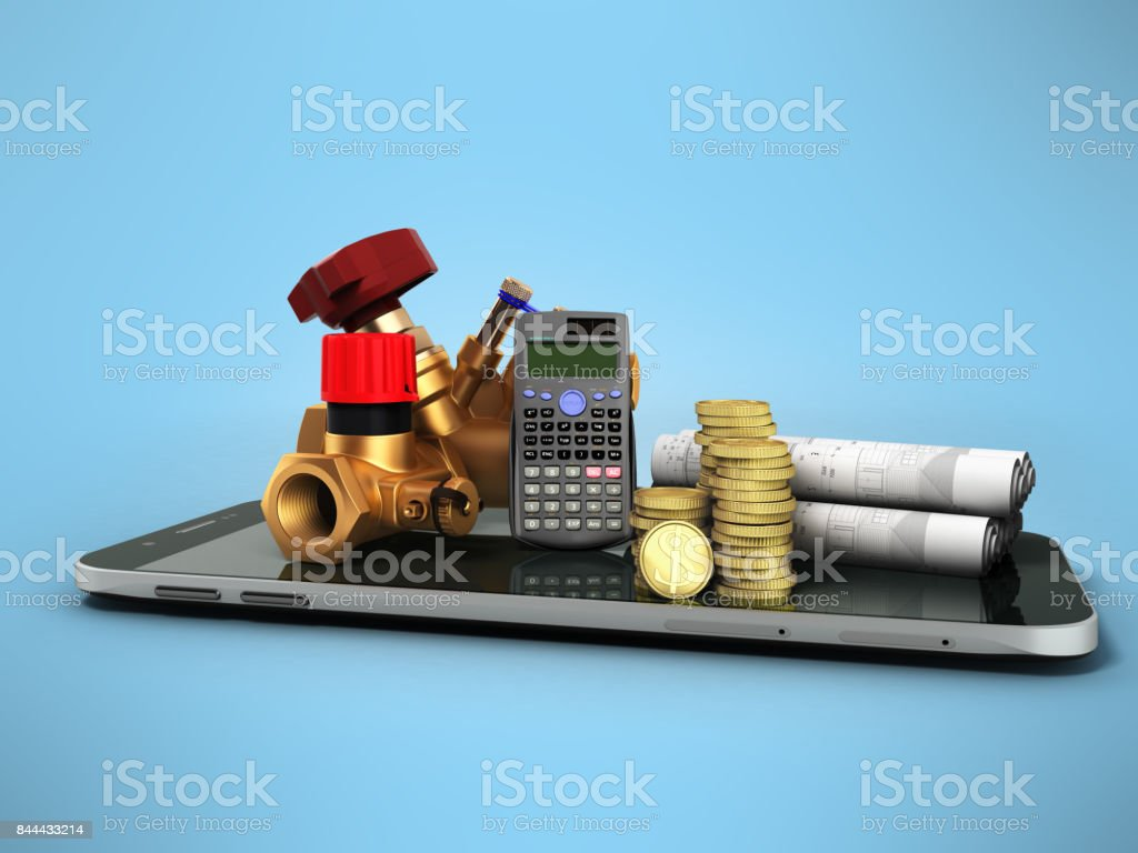 Concept of calculating sanitary connections 3d render on a white background stock photo