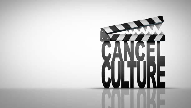 Concept Of Cancel Culture Cancel culture and media symbol or cultural cancellation and social media censorship as canceling or restricting cancelled shows that are offensive or controversial with 3D illustration elements. facebook boycott stock pictures, royalty-free photos & images