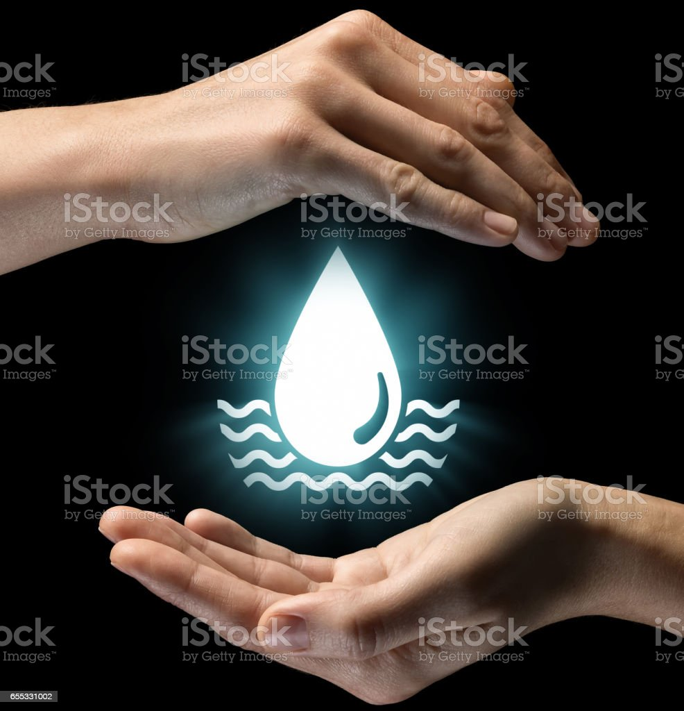Concept of care of water resources. stock photo