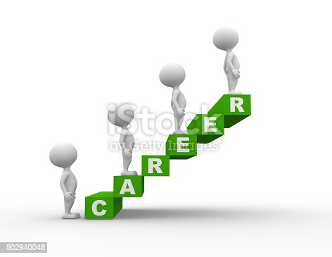 3d people - men, person with green  cubes. Concept of career
