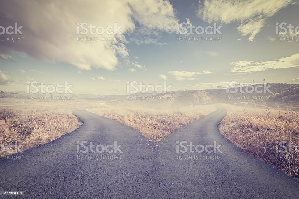 Concept of choice with crossroads spliting in two ways stock photo