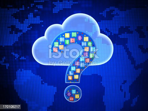 istock Concept of choosing cloud computing application. Questing mark. 170105217