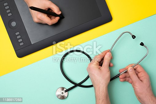 Concept of choosing proffesion. Is it better to be a designer or a doctor. Man holding pen of graphic tablet or stethoscope on colored background.