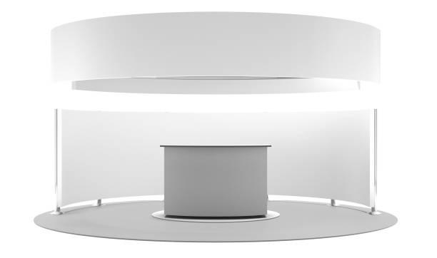 Concept Of Circle Base Exhibition Booth stock photo