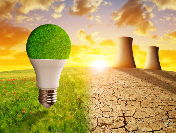 Concept of clean and polluting energy. stock photo