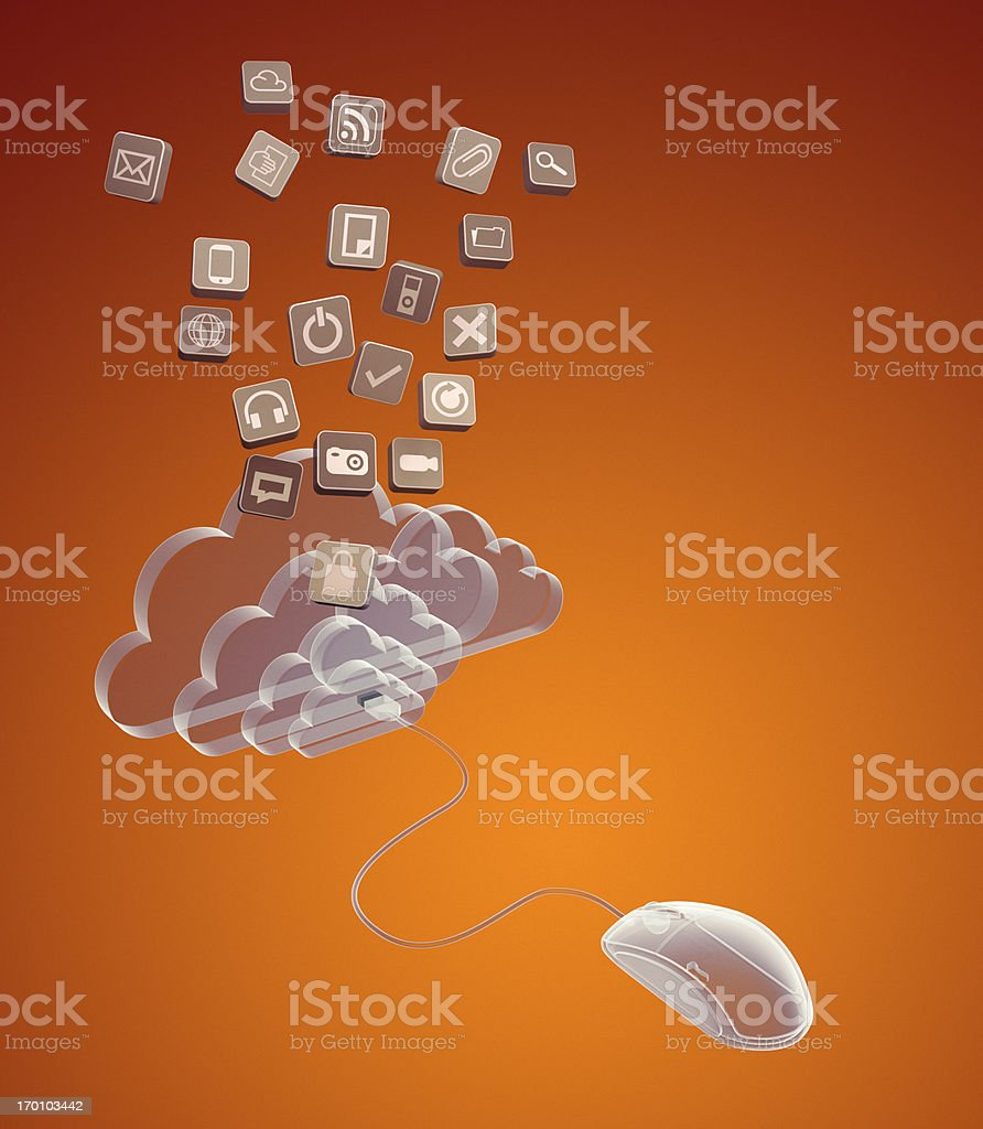 Concept of cloud computing and social media stock photo