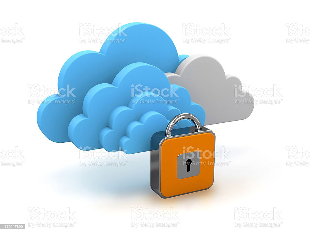 Concept of cloud computing security stock photo