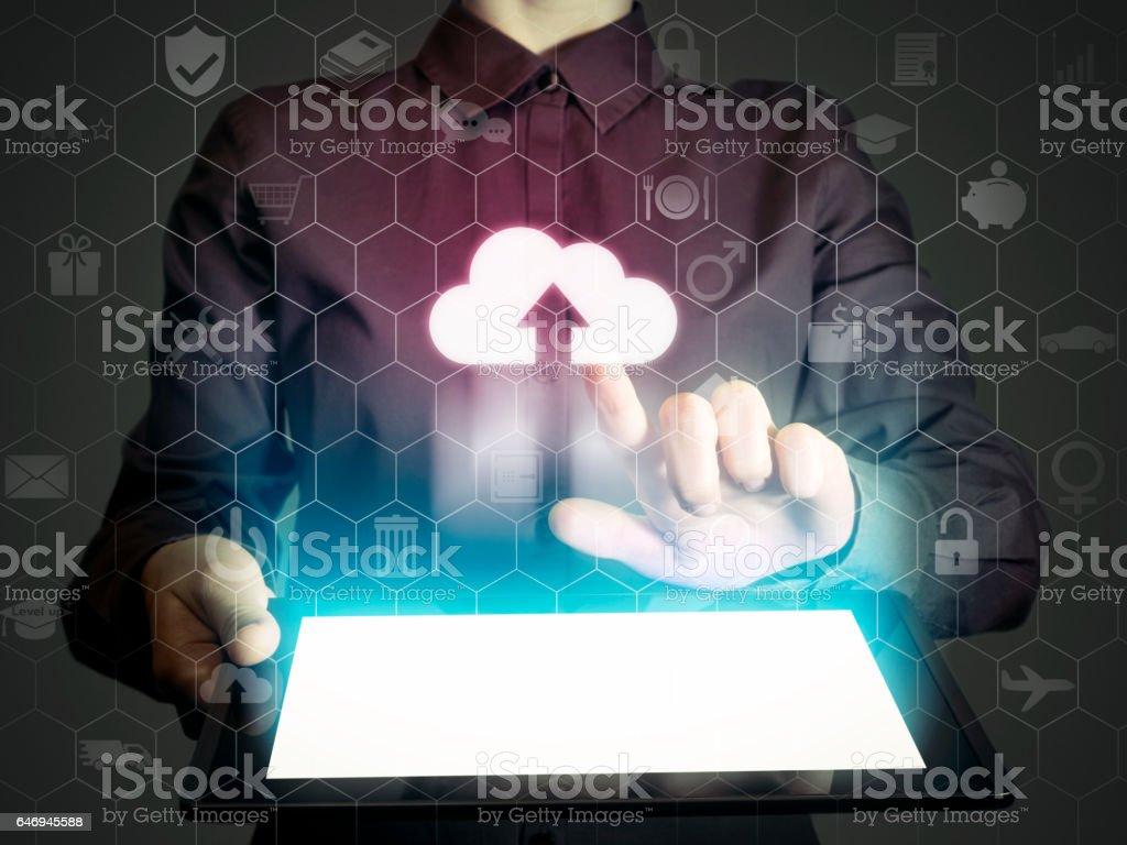 Concept of cloud storage service. stock photo