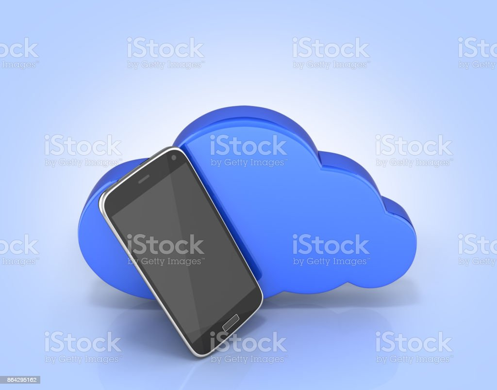 Concept of cloud storage Smartphone with cloud storage app on blue gradient background 3d stock photo