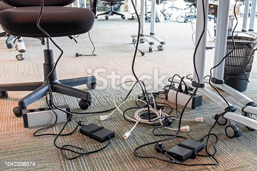 Concept of clutter in office. Unwound and tangled electrical wires under the table. 5S system of lean manufacturing