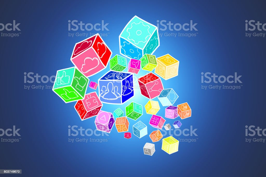 Concept of Colorfull data cube isolated on background- Technology concept stock photo