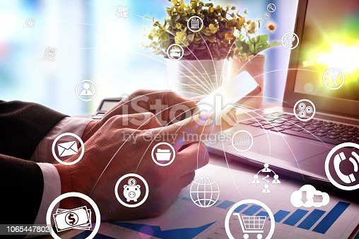 995213208 istock photo Concept of communication and internet in business with icons 1065447802