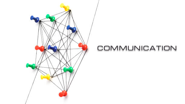 Concept of communication isolated on white background, push pins stock photo