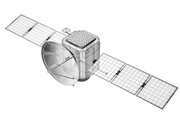 concept of communication satellite. - wireframe solar power imagens e fotografias de stock