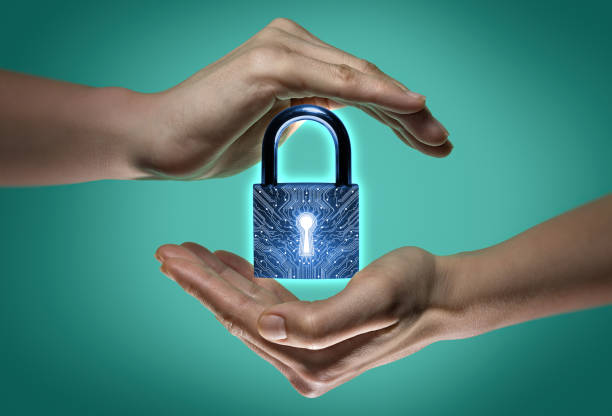 Concept of confidentiality, data protection and security. stock photo