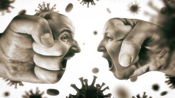 Concept of confrontation, domestic violence, family quarrel during the coronavirus covid-19 pandemic. stock photo