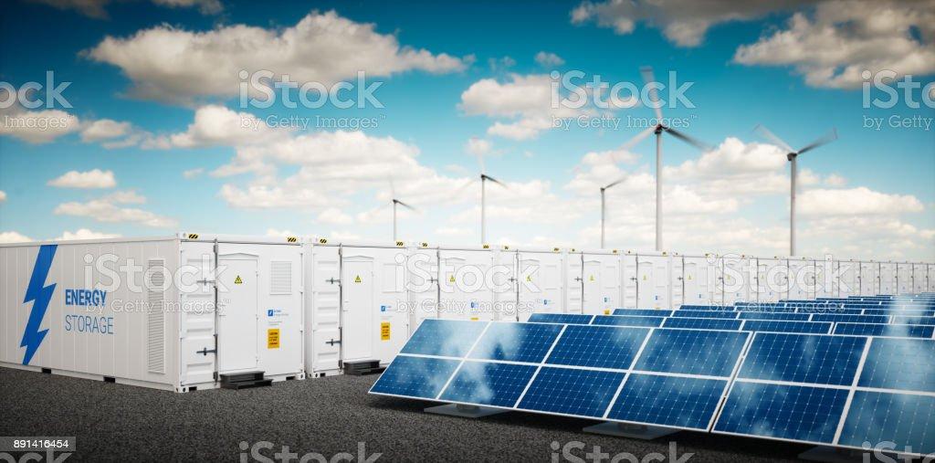 Concept van container Li-ion energieopslagsysteem. Hernieuwbare energie elektriciteitscentrales - fotovoltaïsche zonne-energie, wind turbine boerderij en accu-container. 3D-rendering. foto