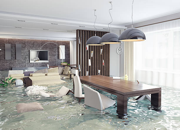 3d concept of contemporary interior flooding - flooded room stock photos and pictures