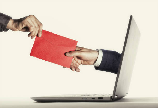 Concept of correspondence, feedback, advertising via internet. stock photo