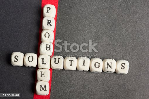 istock Concept of crossing out problem and finding the solution. Wooden 517224040