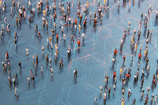 Concept of crowds of people and communication. This is entirely 3D generated image.