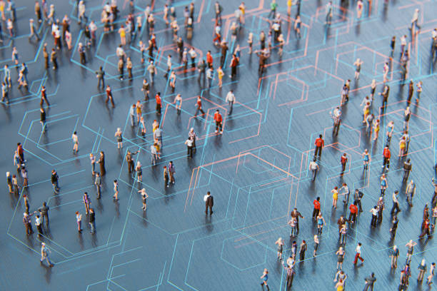 Concept of crowds of people and communication stock photo
