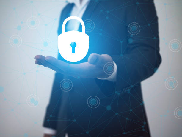 concept of cyber security people use the smartphone with Keyhole icon and business network. data security in online network