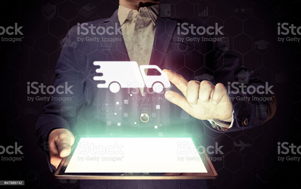 Concept of delivery of cargoes and goods. stock photo