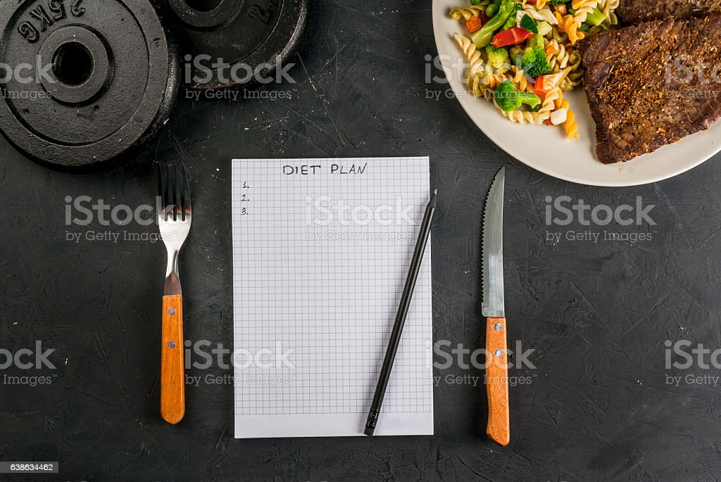 Concept of dieting, counting calories stock photo