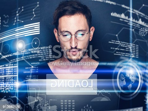 istock Concept of digital diagram,graph interfaces,virtual display,connections screen, online icon.Young man programmer working contemporary computer at night.Blurred background.Horizontal. 912680176