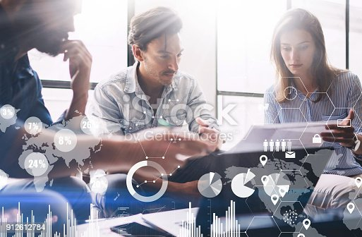 912617272 istock photo Concept of digital diagram,graph interfaces,virtual screen,connections icon on blurred background.Presentation new business project.Group of young coworkers discussing ideas in modern office. 912612784