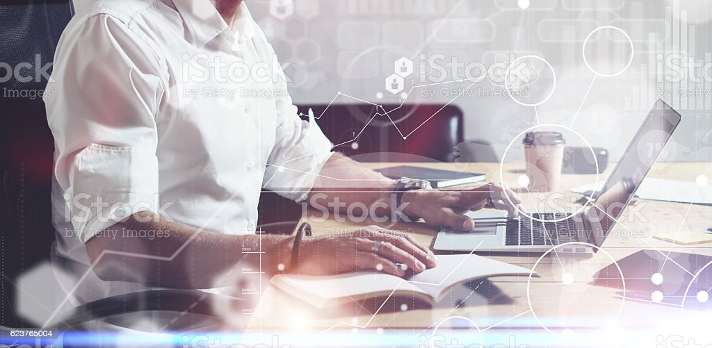 Concept of digital screen with global virtual icon,diagram, graph stock photo