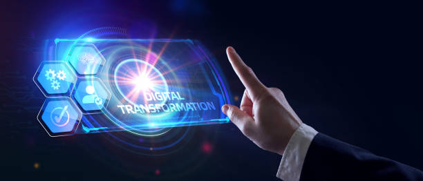 Concept of digitization of business processes and modern technology. Digital transformation. stock photo