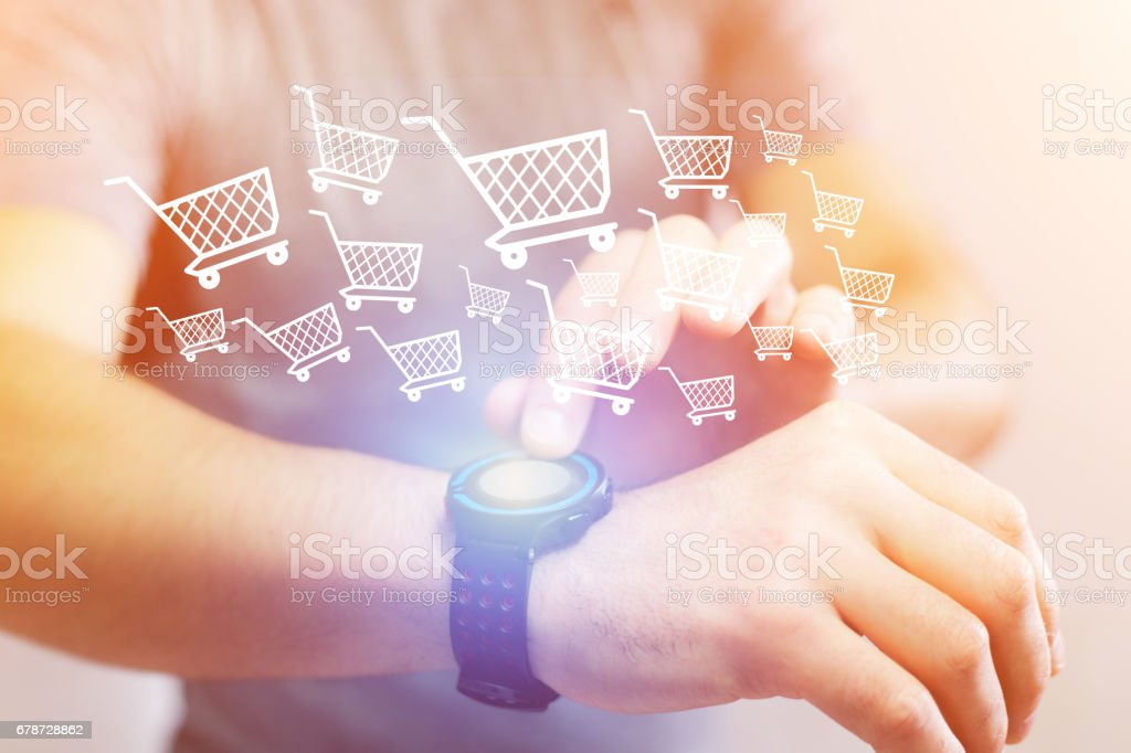 Concept of doing courses on Internet with a technology interface on a watch stock photo