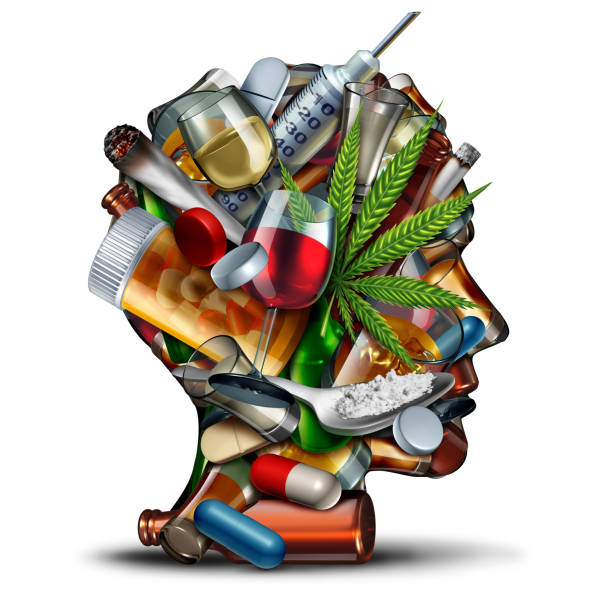 Concept Of Drug Addiction Concept of drug addiction and substance dependence as a junkie symbol or addict health problem with cocaine hroin cannabis alcohol and prescription pills with 3D illustration elements. recreational drug stock pictures, royalty-free photos & images