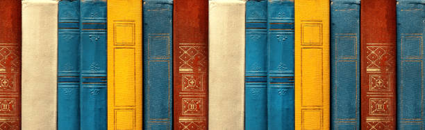 Conceito de educação e conhecimento. Raros livros em A linha na biblioteca antiga, vista frontal - foto de acervo