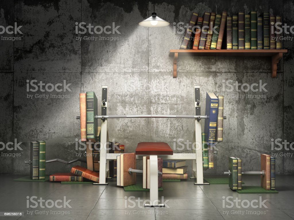 Concept of education. Training apparatus with books as barbells. Training your mind. 3d illustration stock photo