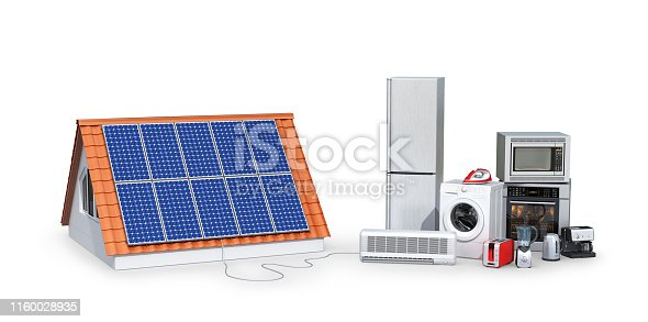 istock concept of electricity from solar panels. Appliances. 3d illustration 1160028935