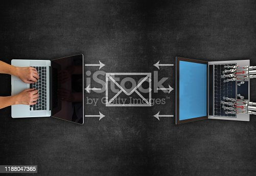 istock Concept of email receiving and sending on blackboard 1188047365